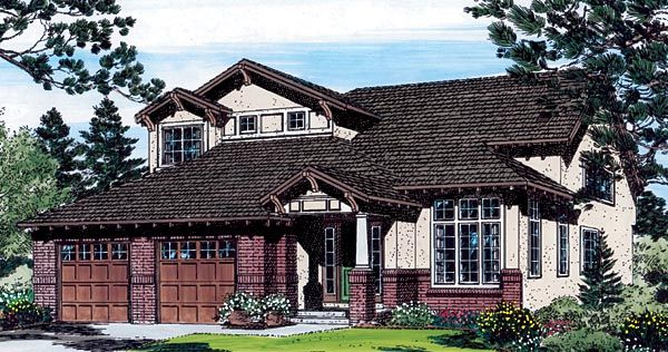 House Plan 24266   Bungalow Craftsman Southwest Traditional Plan with 2672 Sq. Ft., 4 Bedrooms, 3 Bathrooms, 2 Car Garag
