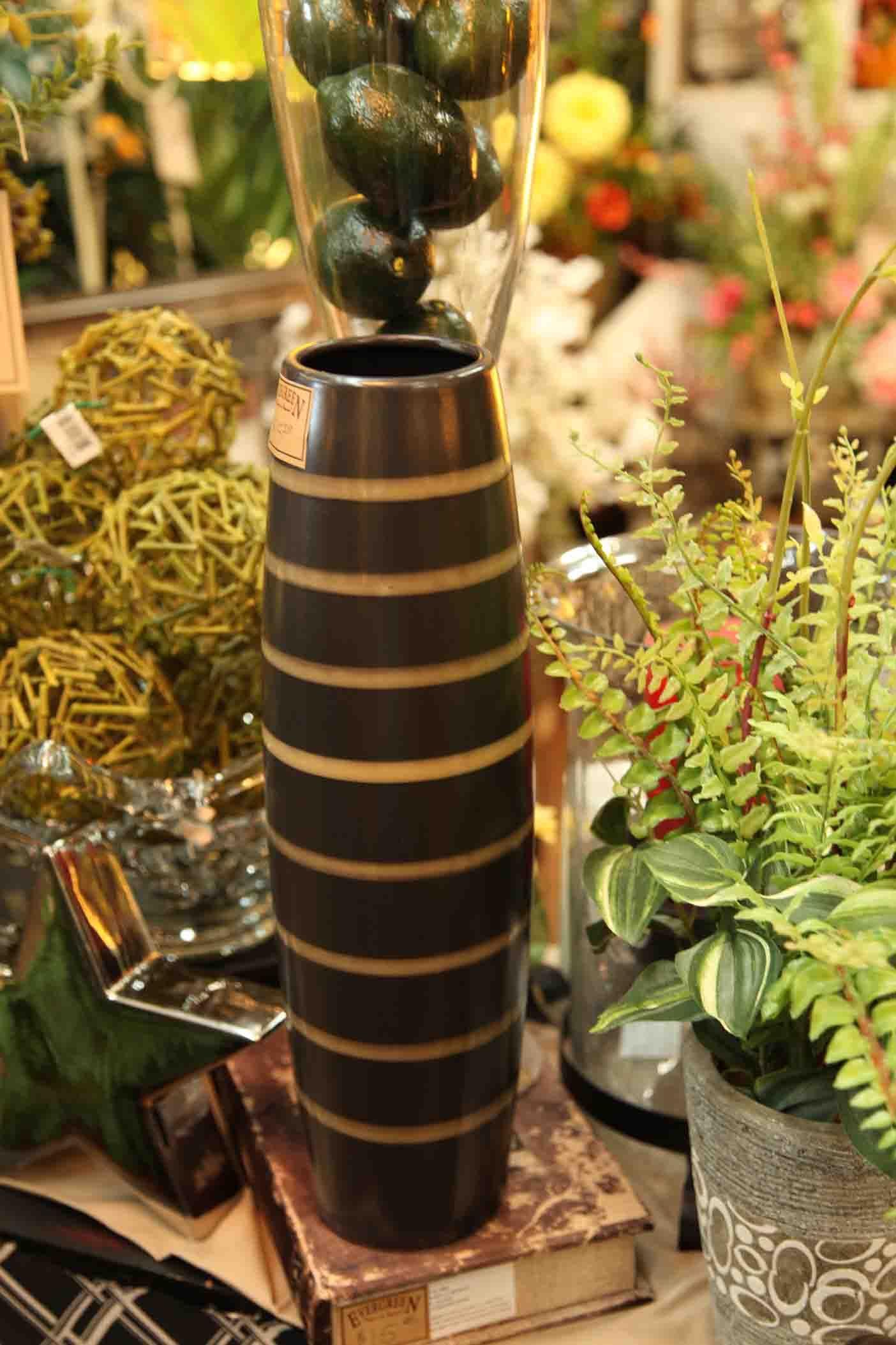 metallic brown with golden stripes vase  www.EvergreenMfg.net