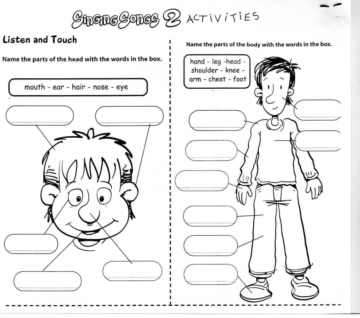 This Esol Worksheet Is Intended To Familiarize The Children With The Parts Of Their Body But