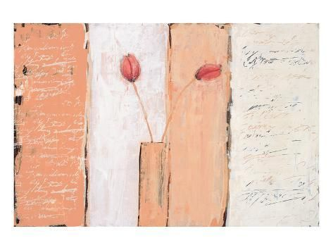 size: 30x40in Premium Giclee Print: Composition En... Une by Anna Flores : Artists Printed on thick, premium watercolor paper, this stunning print was made using a giclée printing process that delivers pure, rich color and remarkable detail. Contemporary images of flowers, hearts and butterflies are infused with a softly weathered, heirloom ambiance in the versatile works of Anna Flores. Creating floral art and still lifes since 1998, Flores interprets these classic genres with a unique point of