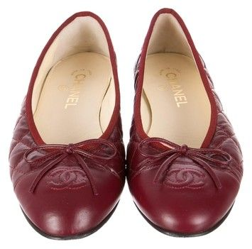 91dfbfb751 Burgundy leather Chanel quilted cap-toe flats with CC logo at toes,  grosgrain trim at openings and stacked heels. Condition: Very Good.