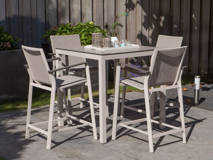Barhocker Magic 2er Set In \ Oudoor Alu Creme \ Textilene Taupe Exotan - gartenmobel set alu weis