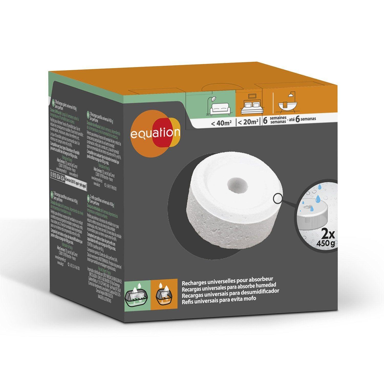Absorbeur D Humidité Avis lot de 2 recharges tablette pour absorbeur d'humidité 20 m²