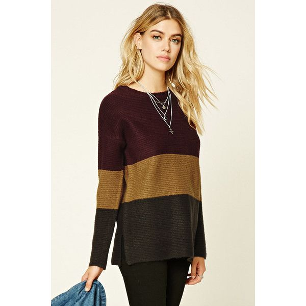 6bbdbf8232 Forever 21 Women s Colorblock Boxy Sweater Top ( 25) ❤ liked on Polyvore  featuring tops