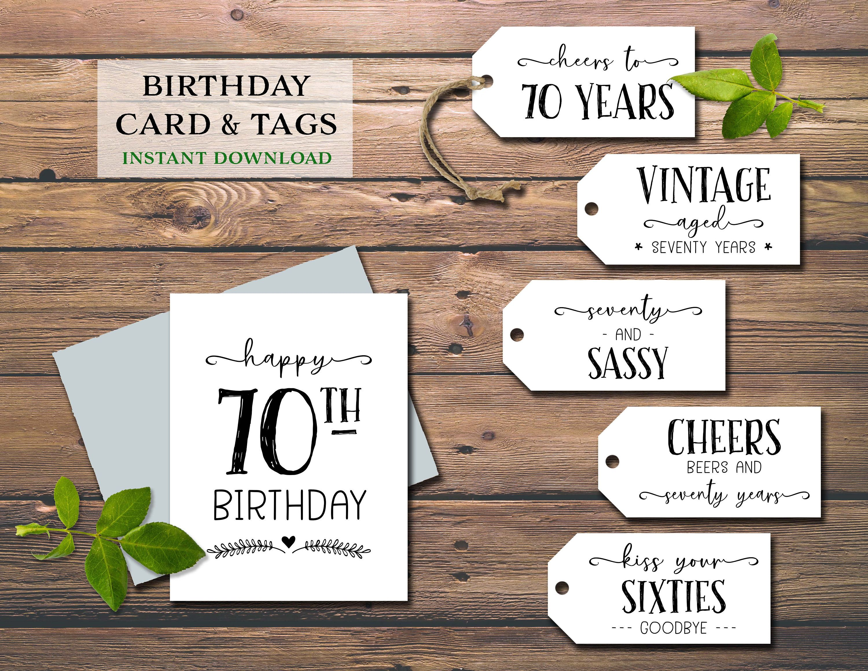 70th birthday card gift tags instant download printable