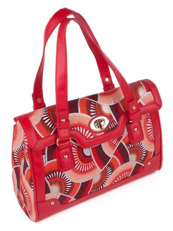 sac main africain tissu wax avec lani re cuir pu orange rouge 60 bolsos de colores. Black Bedroom Furniture Sets. Home Design Ideas