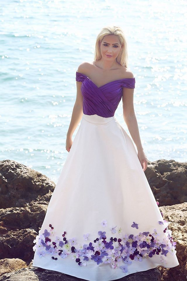 Vintage White Purple Flower Beach Wedding Dress Ball Gown Bridal