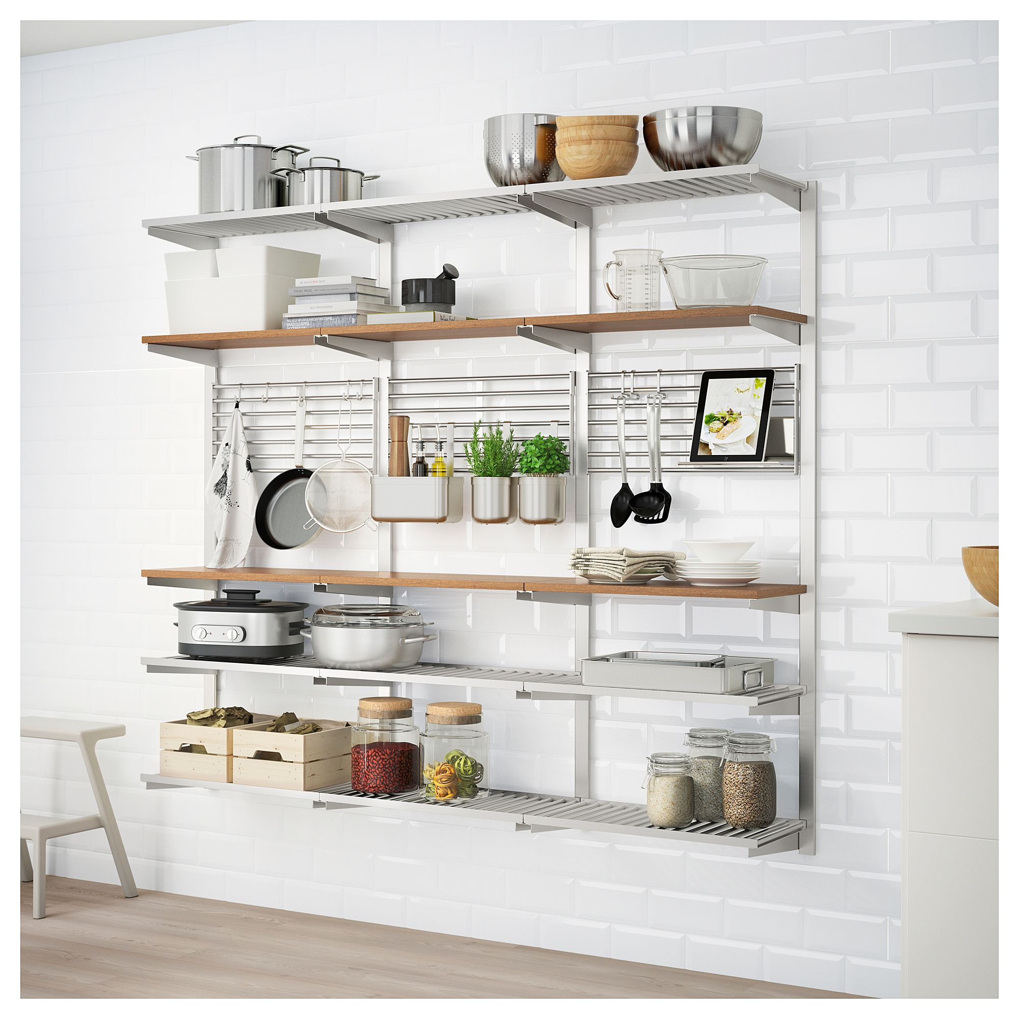 IKEA KUNGSFORS Suspension rail with shelf wll grid stainless steel