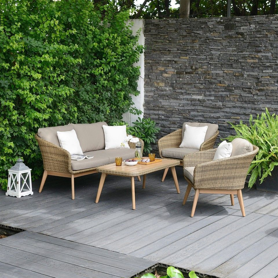 Jutlandia Sessel Lounge Set New York 4 Teilig Polyrattan Beige Jutlandia In