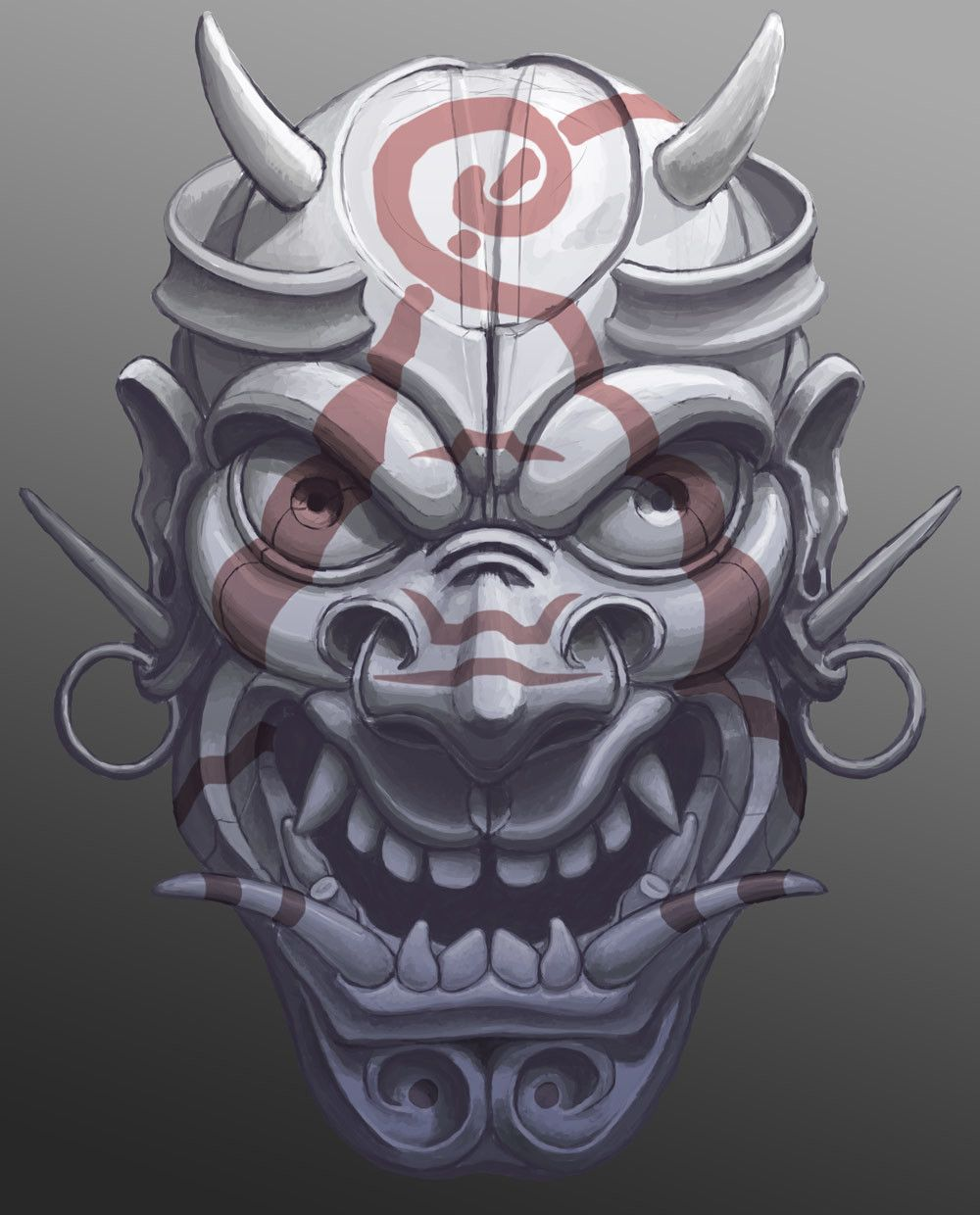 Japanese Tattoo Wallpaper: ArtStation - Evil Painted Samurai Mask, Máté Lukács