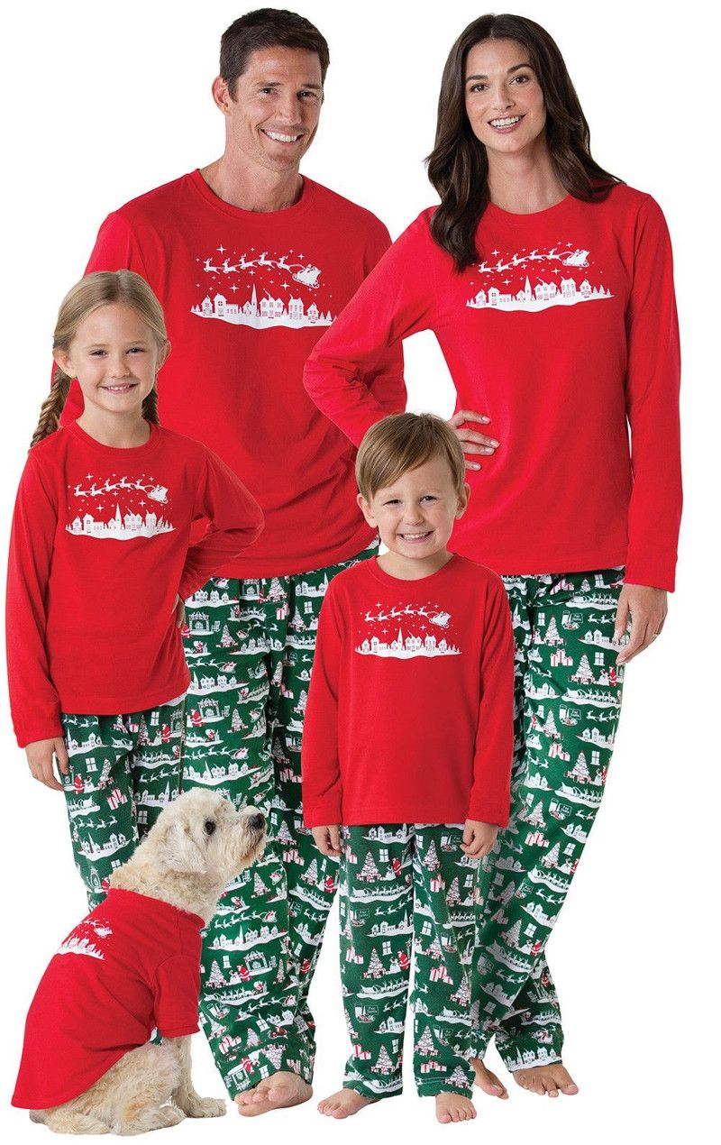 94905be054 Family Matching Outfits Christmas Pajamas Set Kids Adult Sleepwear  Nightwear Outfit Xmas Men Women Baby T-shirt Pants Sleepwear