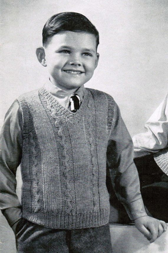 15028013c3ed 1940 s Boys Pullover Vest Knitting Pattern PDF   Sizes 6