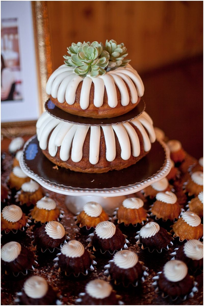 Leana + Brian Nothing bundt cakes, Grooms cake tables