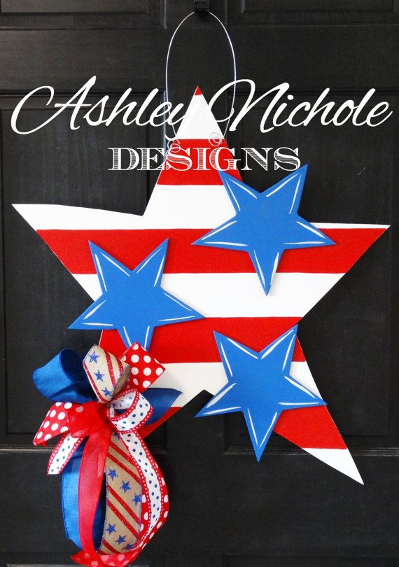 7202414fb Stars and Stripes July 4th Star Wooden Door Hanger