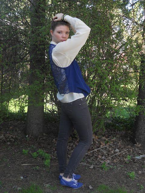 Laceback vest/silk blouse SS12