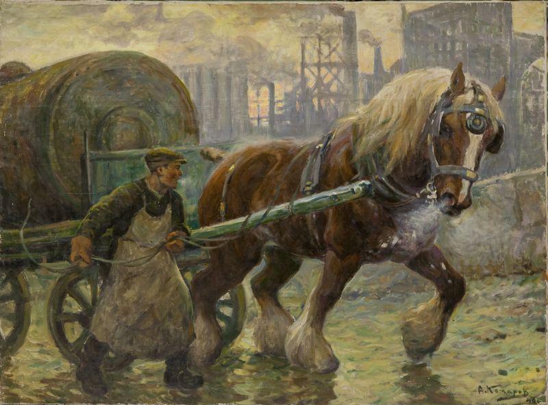 А.Н. Комаров. Тяжеловоз в городе. 1946 г.