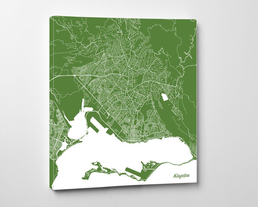 Kingston, Jamaica City Street Map Print Custom Wall Map ...