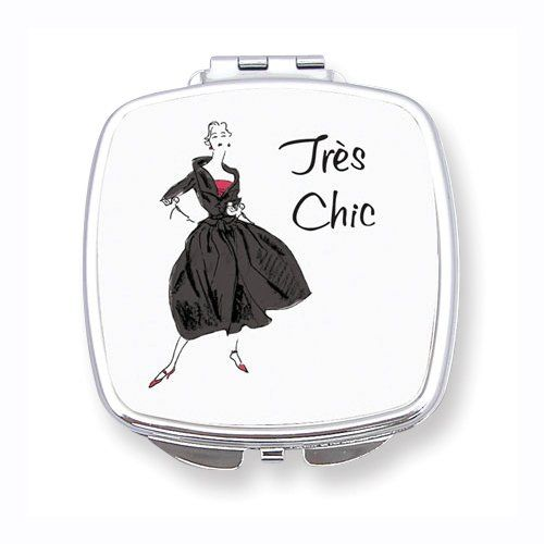 """Tres Chic Epoxy Mirrored Compact FREE ENGRAVING!   TOTALLY GOOD PRICE! $25  Product Description  * Gifts to Go Compacts.    * """"Tres Chic"""".    * Includes gift box, pre-wrapped with a bow, contains regular and magnifying mirrors.    * Epoxy"""