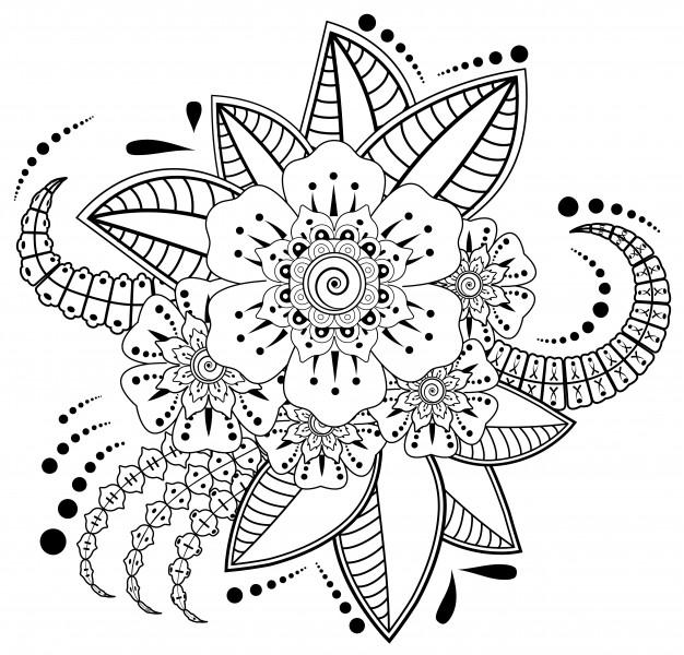 Flor Mehndi Para Dibujo Y Tatuaje Con Henna Decoracion En Estilo Etnico Oriental Indio Vector Premium Dibujos Henna Manos Dibujo Vector De Fondo