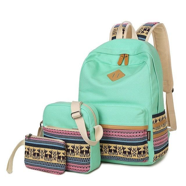 Women Backpacks For School Teenager Girls Printing Canvas School Bags Cute  Lightweight Backpacking 3 Pcs Set For Teen Girls 2effaf03676d2