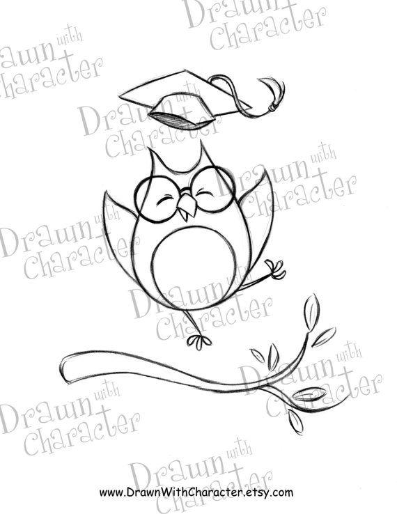 Excited Owl Graduate Digital Stamp Kopykake Image Sp2 Owl Owls