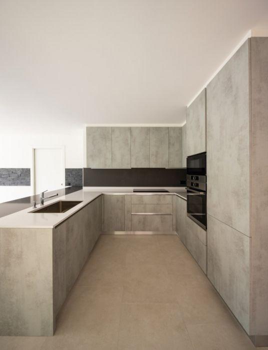 Spatula Plaster Dark Grey Textured Minimalist Kitchen Cabinets Modern Kitchen Apartment Light Grey Kitchens