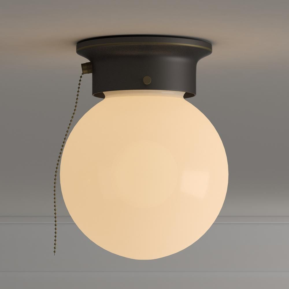 Design House 1 Light Oil Rubbed Bronze Ceiling Light With Opal Glass And Pull Chain 519264 The Home Depot In 2021 Light Fixtures Flush Mount Bronze Ceiling Lights Pull Chain Light Fixture