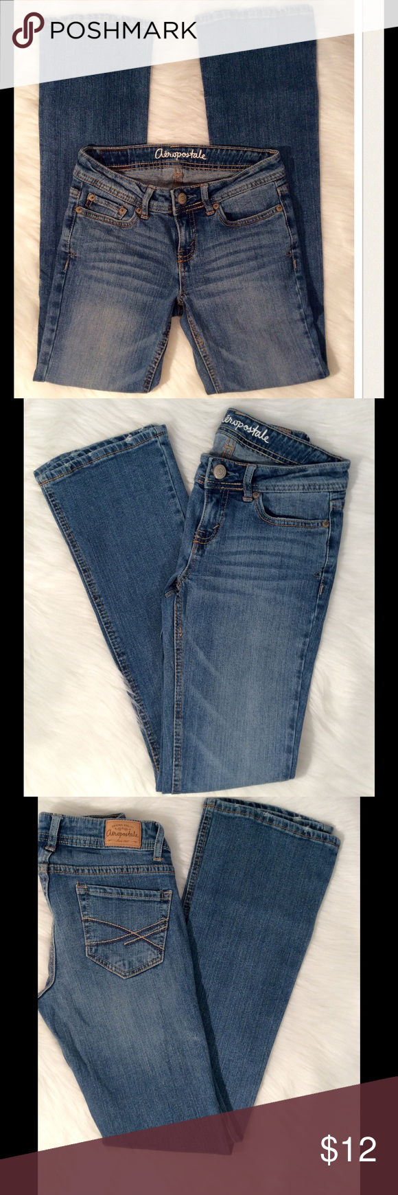 Aeropostale Chelsea Bootcut Jeans Aeropostale Chelsea Bootcut Jeans. Size 000 Regular. Featuring slim fit Bootcut, zipper fly, authentic detailing, 2 tone embroidery on back pockets. Materials: 99% cotton/1% spandex. Aeropostale Jeans Boot Cut