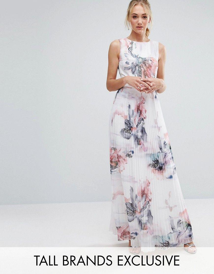 29ff5b3d53dd Little Mistress Tall Floral Printed Maxi Dress With Pleated Skirt Detail -  Multi. Tall dress by Little Mistress Tall