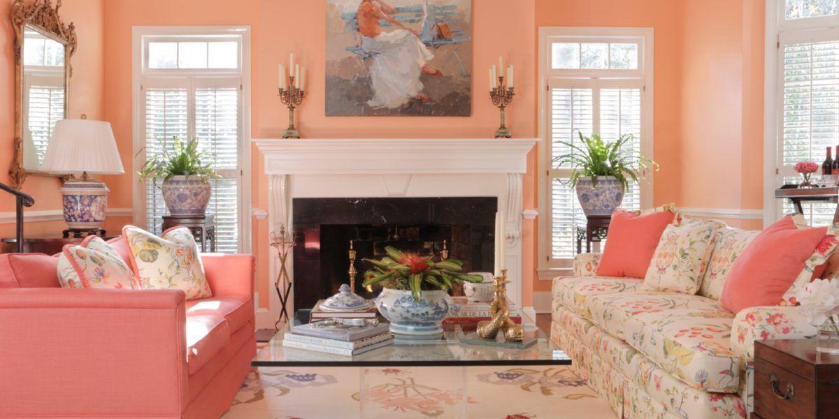 8 Peach Color Applications For Charming Houses In 2020 Living Room Color Schemes Peach Living Rooms Living Room Color #peach #color #for #living #room