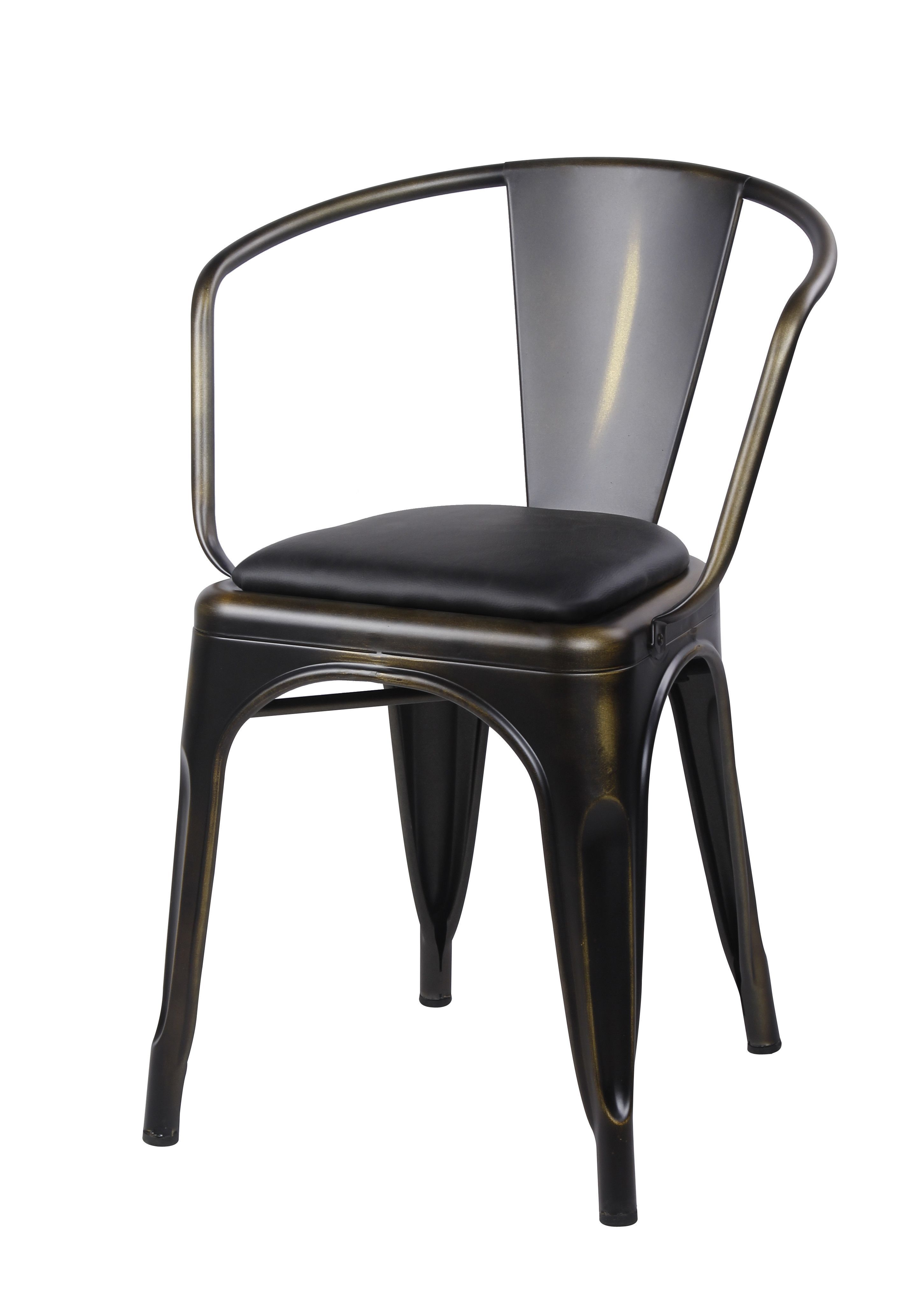 GIA Metal Dining Chairs with Back - Leather Cushion Seat - Tolix Style