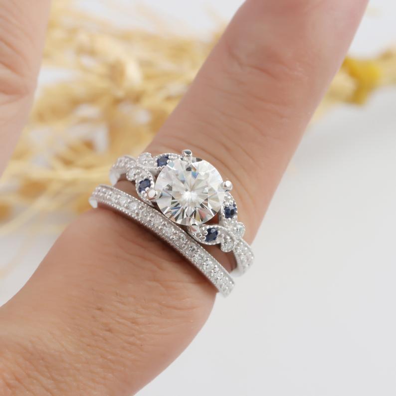 Moissanite Bridal Set, Round 2ct Esdomera Moissanite Ring