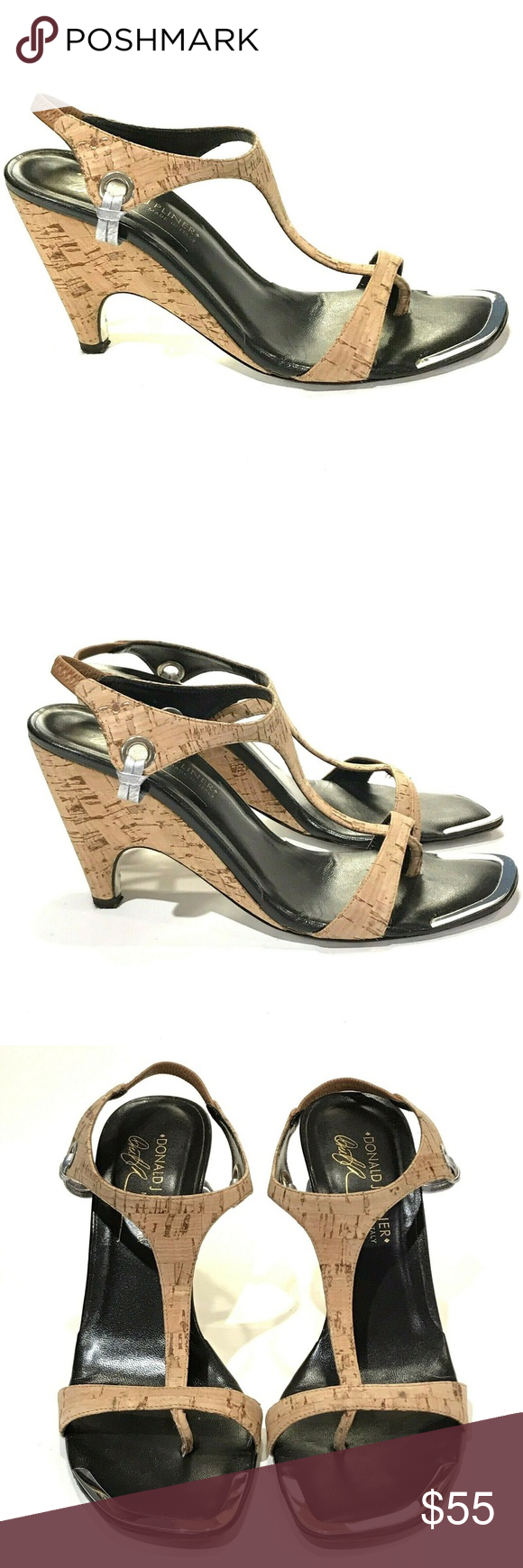 1b5ba14c090 Donald J Pliner Nell Cork Wedge Sandals Size 7 M Women s Donald J Pliner  Cork Nell Sandals with elastic ankle strap