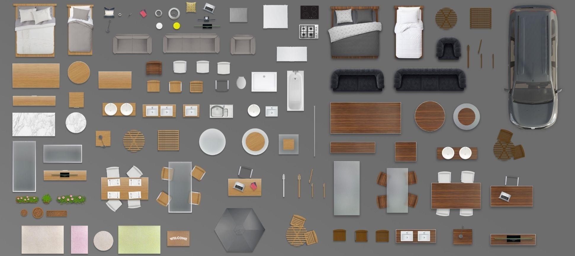 2d Furniture Floorplan Top View Psd 3d Model Render Wood 3d Model 1
