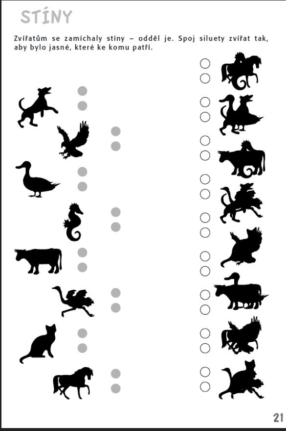 ac4ae2907df Stíny - Zvířátkům se zamíchaly stíny. Najdi je! Aktivity pro nácvik  matematiky