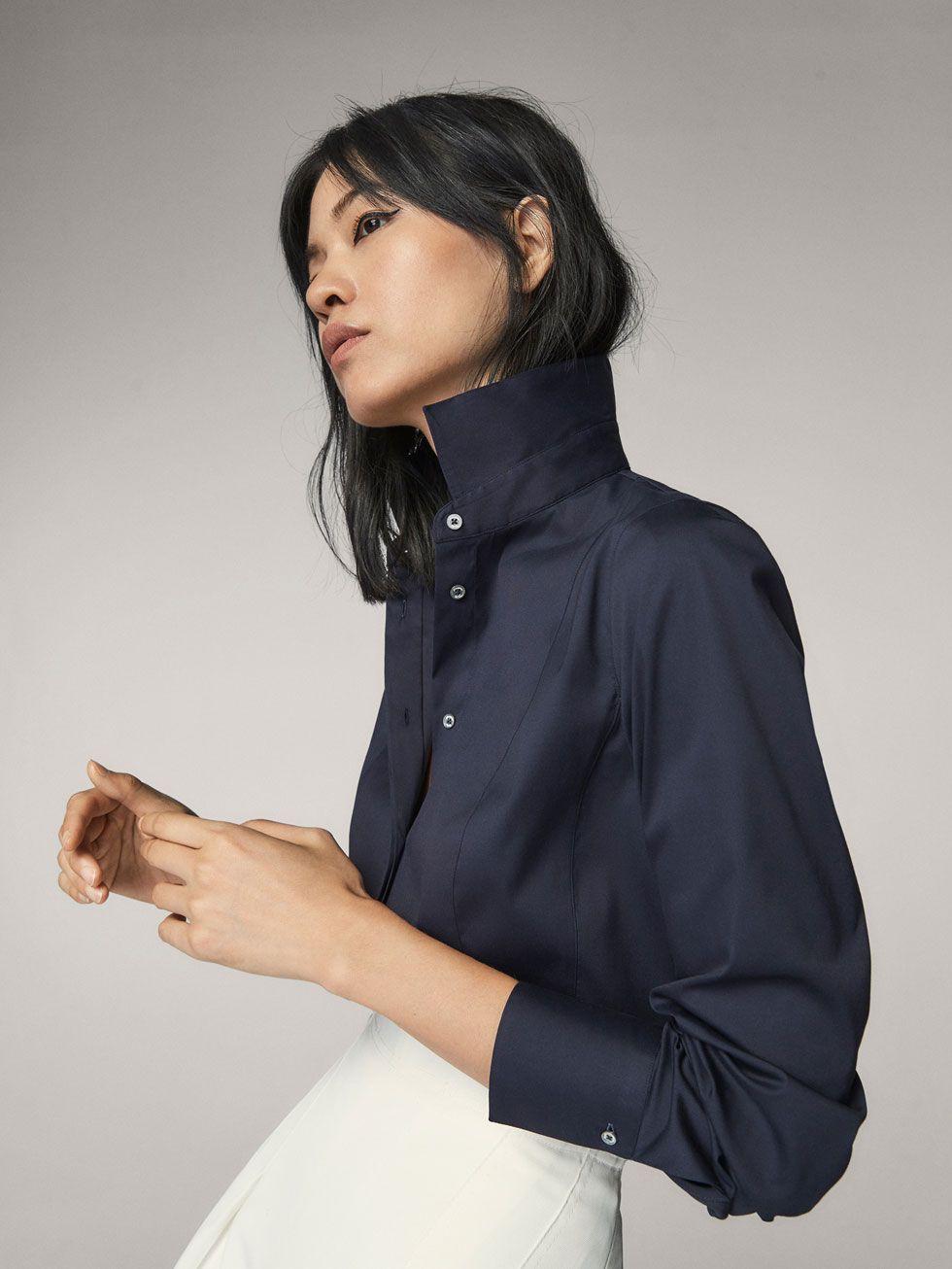 Dutti Detalle Camisa Massimo Mujer Costuras Lisa Fit Stretch Z1HwB1