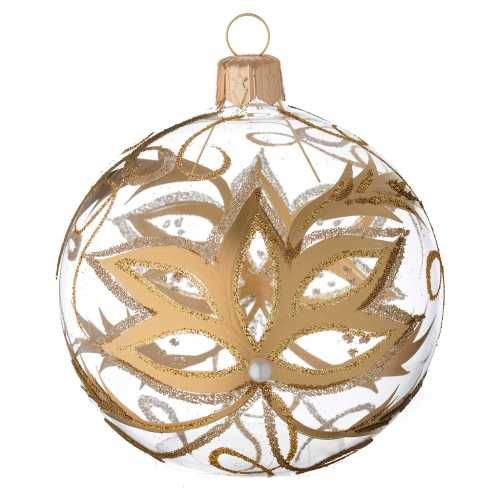 29c6567f9af Bola de Navidad de vidrio con flores doradas 80 mm