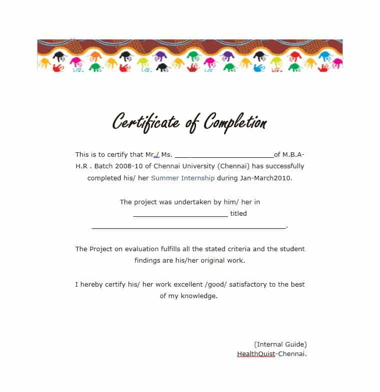 10+ Certificate Of Completion Templates