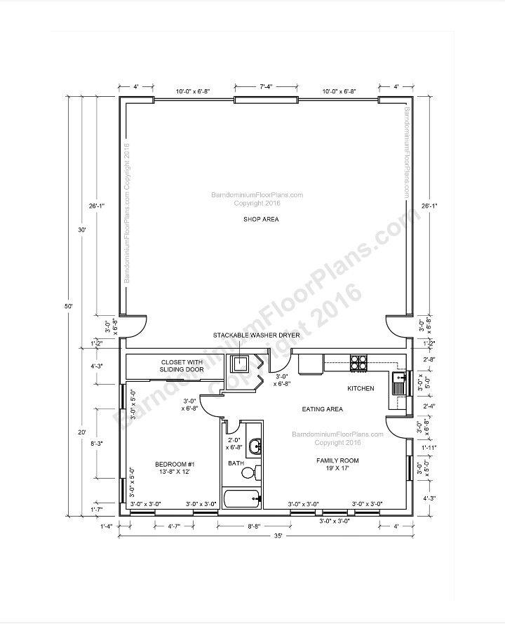 50x35 pole barn with apartment | Pole barn house plans ...
