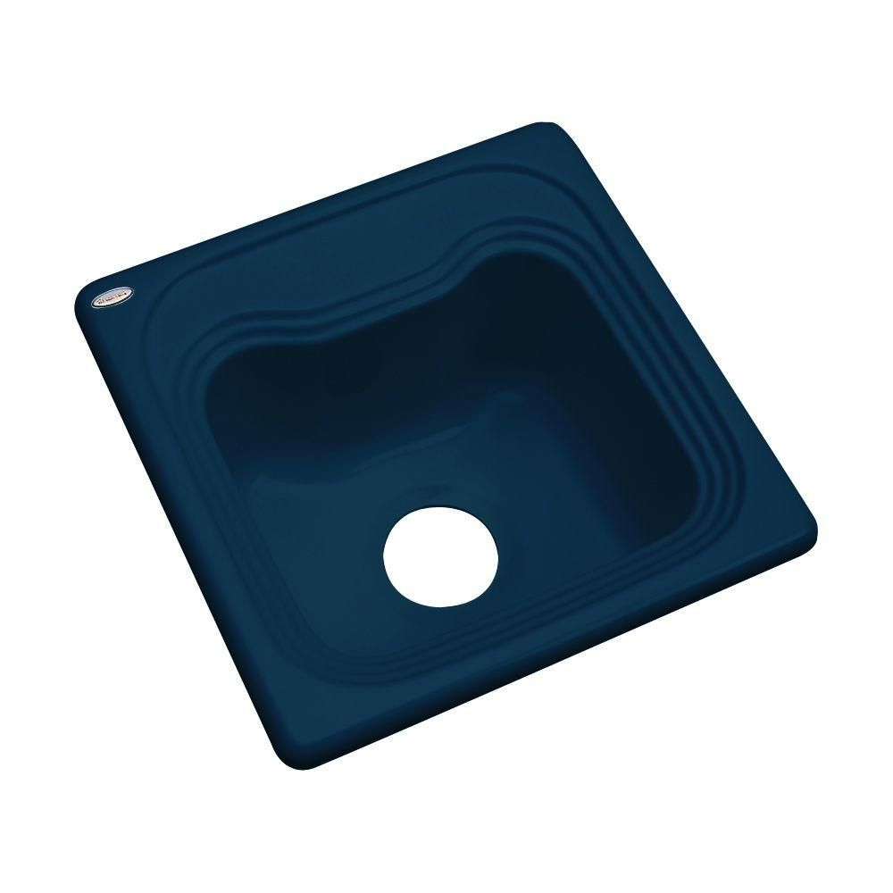 Oxford Drop In Acrylic 16 In Single Bowl Kitchen Sink In Navy