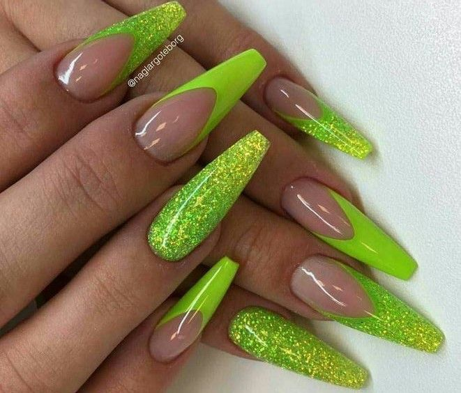 20 Stand Out Neon Green Nails With Images Green Nail Designs