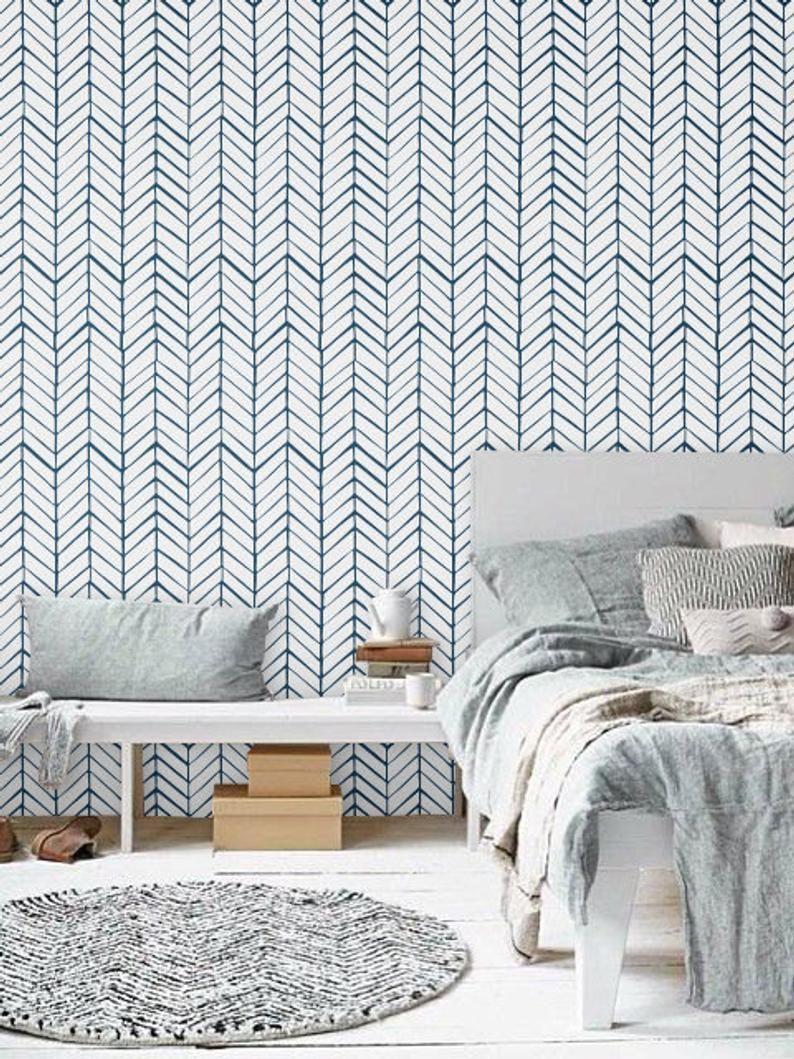 Navy Blue Chevron Wallpaper Peel And Stick Herringbone Etsy Herringbone Wallpaper Blue Chevron Wallpaper Chevron Wallpaper