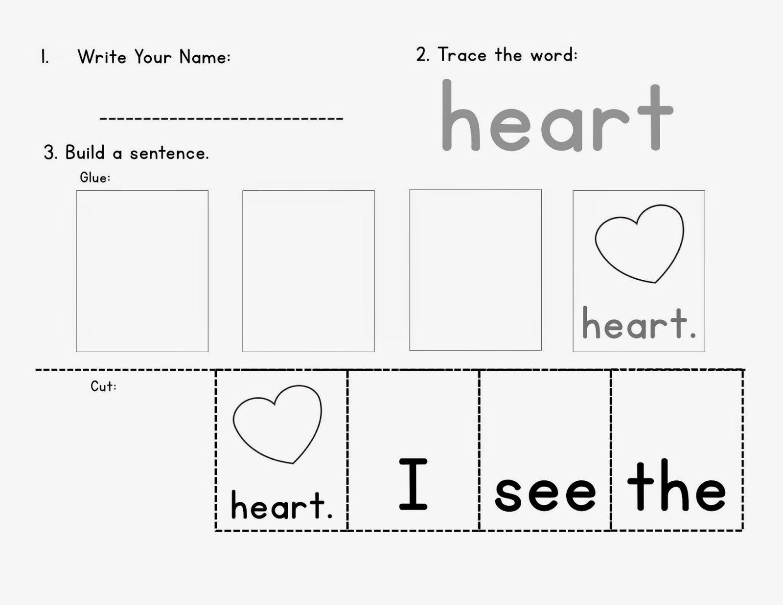 February Sentence Building Worksheets