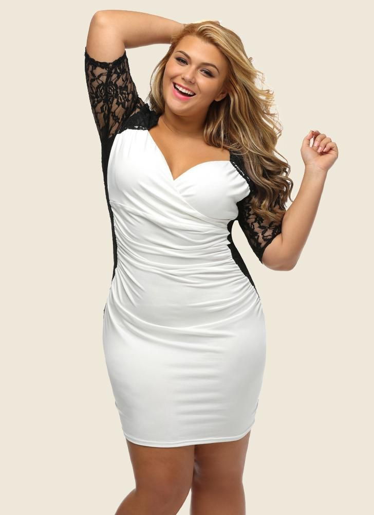 Plus Size Lace Ruched V Neck Half Sleeve Sexy Elegant Club Party One-Piece  in 2018  c32140c09