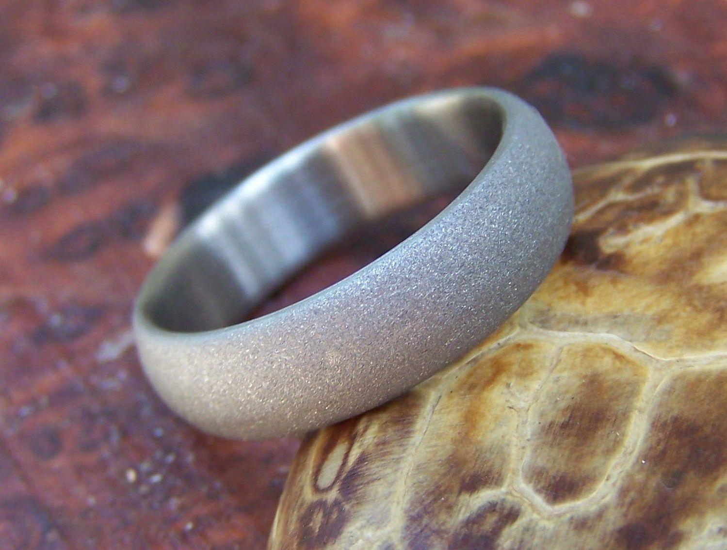 Titanium Ring Domed Shape Sandblasted Finish, Titanium