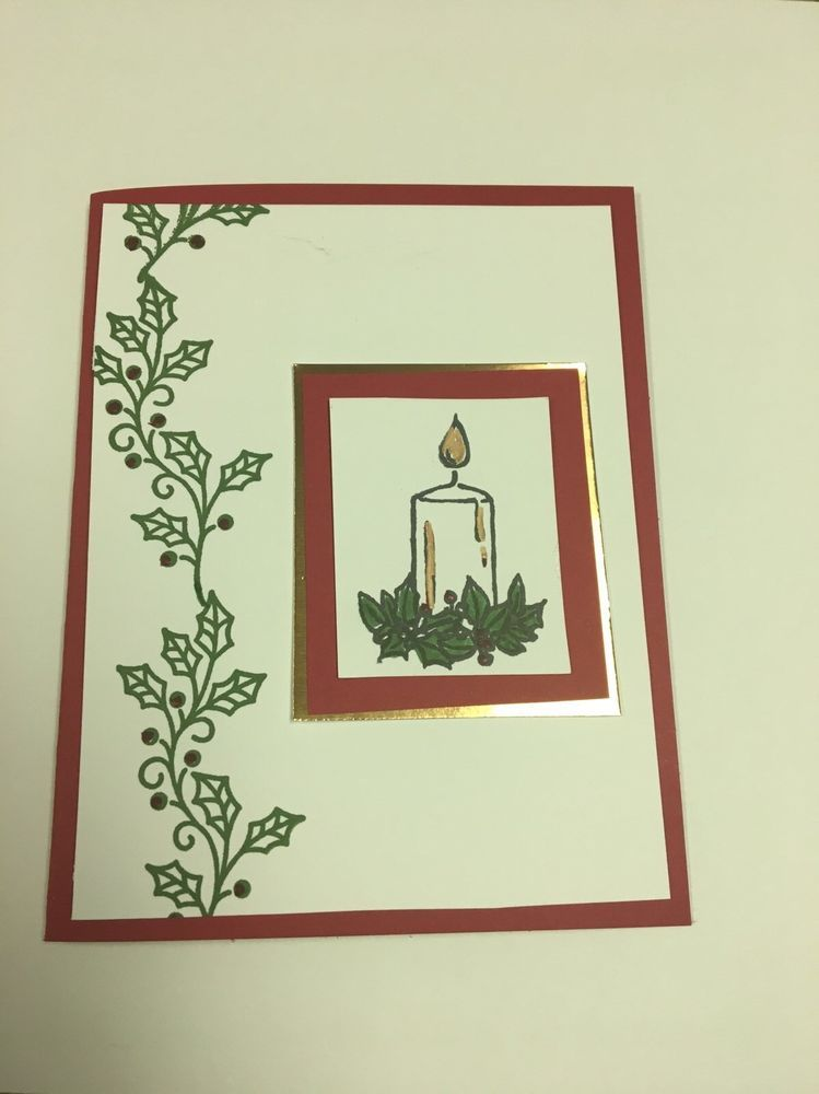 3 Handmade Red Stampin Up Candle Christmas Greeting Cards #Handmade