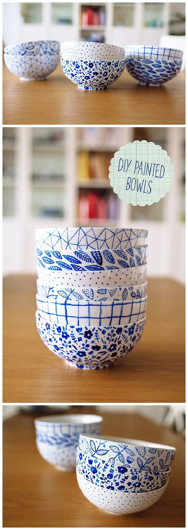 The best do it yourself gifts fun clever and unique diy craft these would make the prettiest gifts fill them with homemade baked treats diy painted bowls tutorial fellowfellow solutioingenieria Image collections