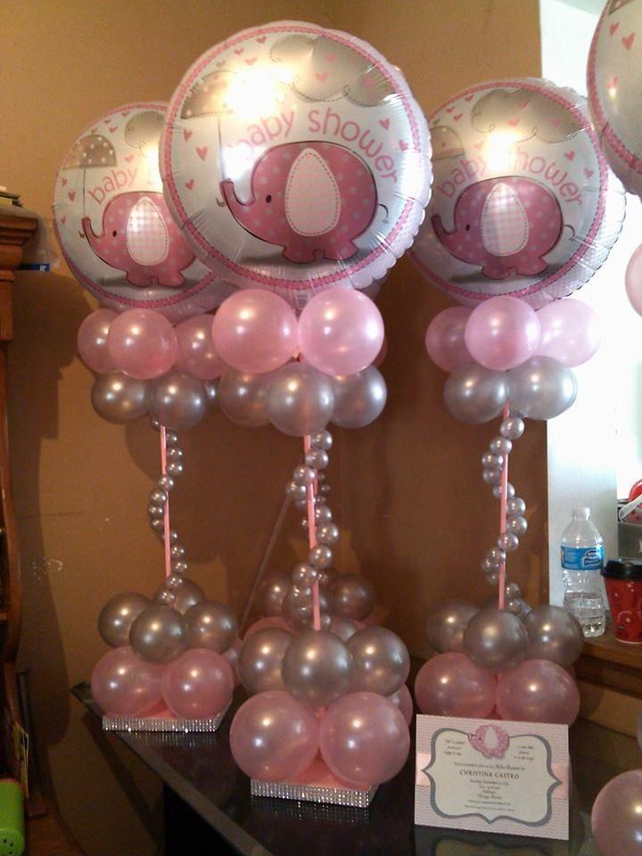 very cute baby shower centerpiece idea babyshower baby shower rh pinterest com balloons baby shower theme air balloon baby shower theme