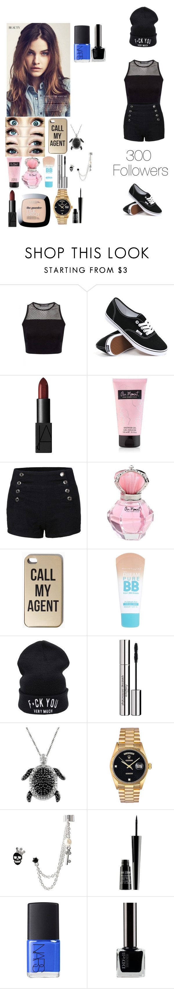 """""""300 followers"""" by rosemie ❤ liked on Polyvore featuring Vans, NARS Cosmetics, Maybelline, Sisley Paris, Jewel Exclusive, Rolex, Betsey Johnson, Lord & Berry, thankyou and followers"""