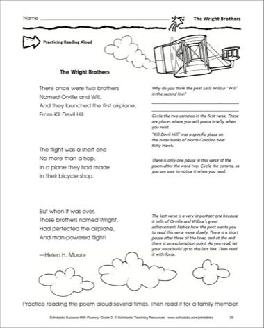 The Wright Brothers Fluency Building Practice Pages Printables